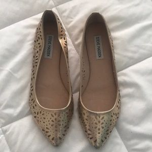 Steve Madden Gold Cut-Out Flats